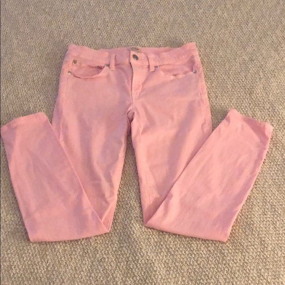 Jcrew faded bright pink toothpick jeans size 27